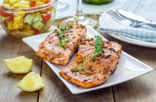 Barbecued Salmon fillets in a Garlish® and Just the Gubbins® marinade